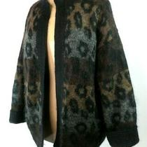Escada Margaretha Ley Mohair Blend Leopard Animal Print Open Cardigan Sweater 42 Photo