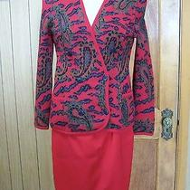 Escada Margaretha Ley Red Wool Paisley Sweater Jacket & Skirt Set Outfit Size 36 Photo