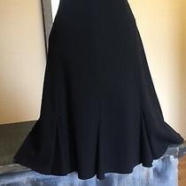 Escada Margaretha Ley Vintage Godet 100% Wool Skirt Black Size 40 Classic Lined Photo