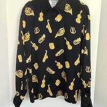 Escada Margaretha Ley Women's Eur Size 40 Silk Blouse With Musical Instruments Photo