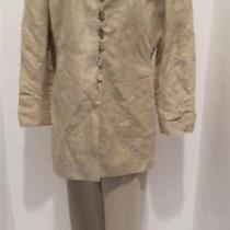 Escada Margaretha Ley Womens Silk Linen Pant Suit Beige Sz 42 Us Large Photo