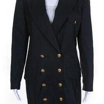 Escada Margaretha Ley Womens Solid Double Breasted Long Blazer Black Size S Photo