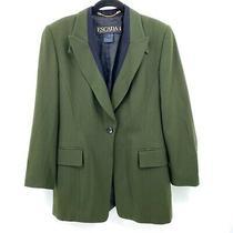 Escada Margaretha Ley Womens Wool Jacket Blazer Size 39 Black Green Lined Photo
