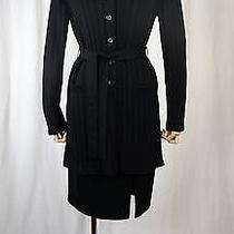 Escada Merino Wool Black 2 Pcs Skirt Suit W Lamb Collar Size 38/40 Photo
