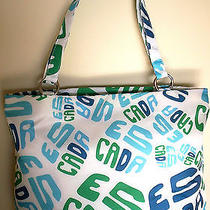 Escada 'Moonsparkle' Large Beach Bag Blue/green Name Print on White Photo