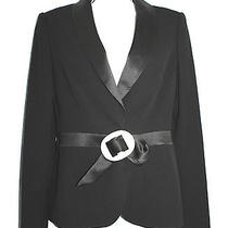 Escada Mother of Pearl Inlay Buckle Black Wool Tuxedo Blazer Jacket 38 Photo