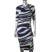 Escada New Blue Printed Gathered Short Sleeves Wear to Work Dress 42 Bhfo Photo