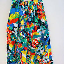 Escada New Bright Color Floral Print Mid-Calf Skirt W/scarf Sz 6 /36 Retail 585 Photo