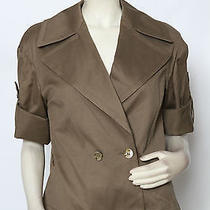 Escada Olive Green Mother of Pearl Cotton Coat Jacket Sz 38 Us 8 Nwt 1650 Photo