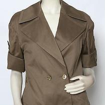 Escada Olive Green Mother of Pearl Cotton Coat Jacket Sz 38 Us 8 Nwt 1650 Photo
