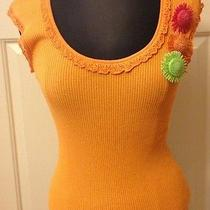 Escada Orange Top Pollover Flower Pin Applications Us Size 10 Retail at Saks Photo