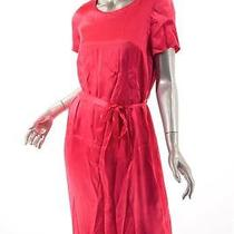 Escada  Pink 100% Silk Shortsleeve Satin Empire Waist Dress W/belt-Vintage 38/6 Photo