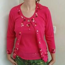 Escada Pink 3d Floral Twin Set Vest/cardigan Wool Blend Size 38 Uk 12 Photo
