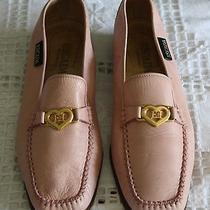 Escada Pink Heart Leather Loafers Photo