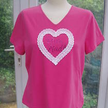 Escada Pink Stretch Lace Heart  Crystals Stretch Top Xl New Photo