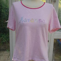 Escada Pink Stripe Stretch Top Xl With Crystals New Photo