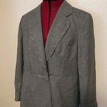 Escada Pretty Gray Bow Clasp Wool Womens Designer Vintage Blazer Jacket Size 44 Photo