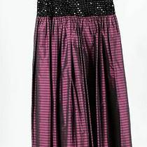 Escada Purple Black Silk Cotton Women's Sequin Striped Pleated Skirt Sz 38 Photo