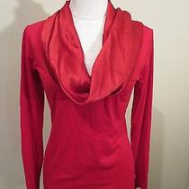 Escada Red Lacquer Cowl Drape Neck Womens Top Blouse Size Medium Shirt Photo