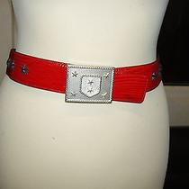 Escada Red Patent Leather Belt  38 8 Star Decoration &  Silver Buckle Photo