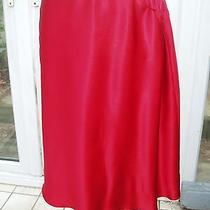 Escada Red Satin Silk Tie Waist Skirt  New One Size Photo