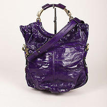 Escada Royal Purple Glazed Leather O-Ring Handle Foldover Shoulder Bag Photo