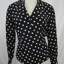 Escada Silk Blouse Sz 36 Sz S Black With White Polka Dots Long Sleeve Wide Cuffs Photo
