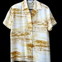 Escada Silk Short Sleeve Shirt - Gold Cream & Cognac Sz 36 Photo
