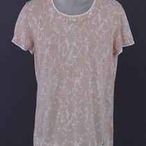 Escada Sport Beige White Printed Short Sleeve Knit Top Size Medium  Photo