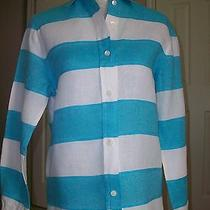 Escada Sport Blue and White Banded Color Block Linen Blouse Top S Photo