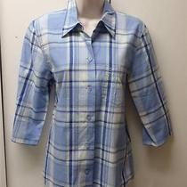 Escada Sport Blue Plad 100% Cotton Elbow Length Shirt Blouse Top S Photo