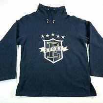 Escada Sport Hoodie Womens Sz M Sweatshirt High Collar Blue Gold Photo