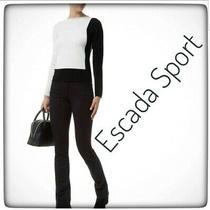 Escada Sport Linda Black Velvet Cotton Zip Front  Pants Sz 38 Usa sz.4 Photo