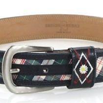 Escada Sport Navy Blue Red Green Golf Club Tartan Plaid Canvas Leather Belt 36 S Photo