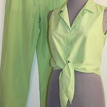 Escada Sport Silk Cotton Pants Set Sleeveless Top 34 Light Green Us 4 Free Ship Photo