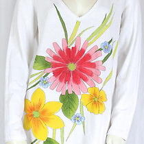 Escada Sport  White Cotton Casual v-Neck Floral Print Top Blouse Shirt Sz M Photo