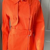 Escada Sport Women's Trench Coat Jacket Belted Tropical Orange Sz 38 Photo