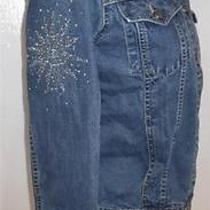 Escada Sport Womens Jean Jacket With Jewels Studs Made Italy Size 36 Photo