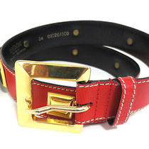 Escada Square Studded Leather Belt  Red & Gold Size S 09328/500 Photo