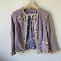 Escada Suede Floral Jacket Purple Lavender Sz 38 Us Small Medium Photo