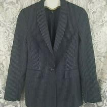 Escada Suit Jacket 36 Navy Blue Striped Wool Blend One Button Lined Blazer 6 S Photo