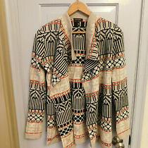 Escada Sweater Open Long Cardigan 100% Virgin Wool Geometric Gray Black Orange  Photo