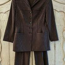 Escada Sz 30 Blazer 28 Pants Suit Set Brown Striped Business Career Wool Photo