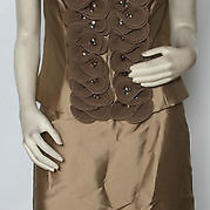 Escada Tan Beaded Ruffled Silk Jacket Skirt 2pc Suit Set Sz 40 Us 10 Nwt 4840 Photo
