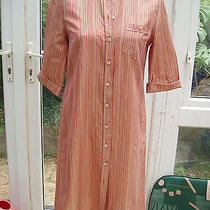 Escada Tan Stripe Cotton Button Through Dress 38 8 Photo