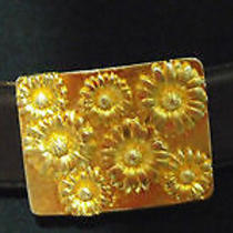 Escada Vintage Belt 36 6 Brown Leather Daisy Gold Flowers Charms Haute Couture Photo