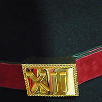 Escada Vintage Belt 36 6 Suede Leather Red Gold Roman Numbers Time Clock Couture Photo