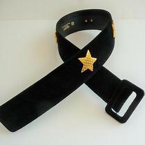 Escada Vintage Black Velvet Wide Belt With Gold Crystal Stars Small Retail 495 Photo
