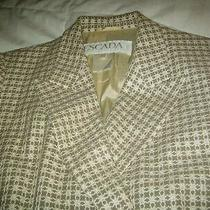 Escada Vintage Blazer Wool Silk Blend in Beige Embroidery 38 10-12 Germany Photo