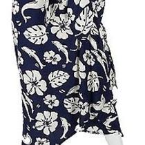 Escada Vintage Blue White Silk Dolphin Print Wrap Midi Skirt Sz 34 4 S Photo